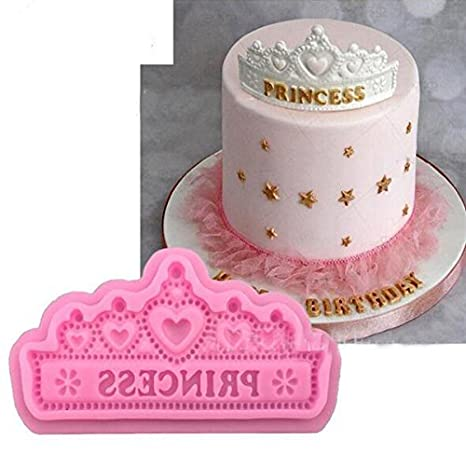 Princesa corona forma suave alfombrilla de silicona decoración de pasteles fondant galletas molde para hornear molde herramienta: Amazon.es: Hogar