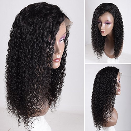 Auspiciouswig Curly Lace Front Human Hair Wigs Brazilian Virgin Human Hair Wigs with Baby Hair for Black Women (150% density 14 Inch Natural Color, lace front wig)