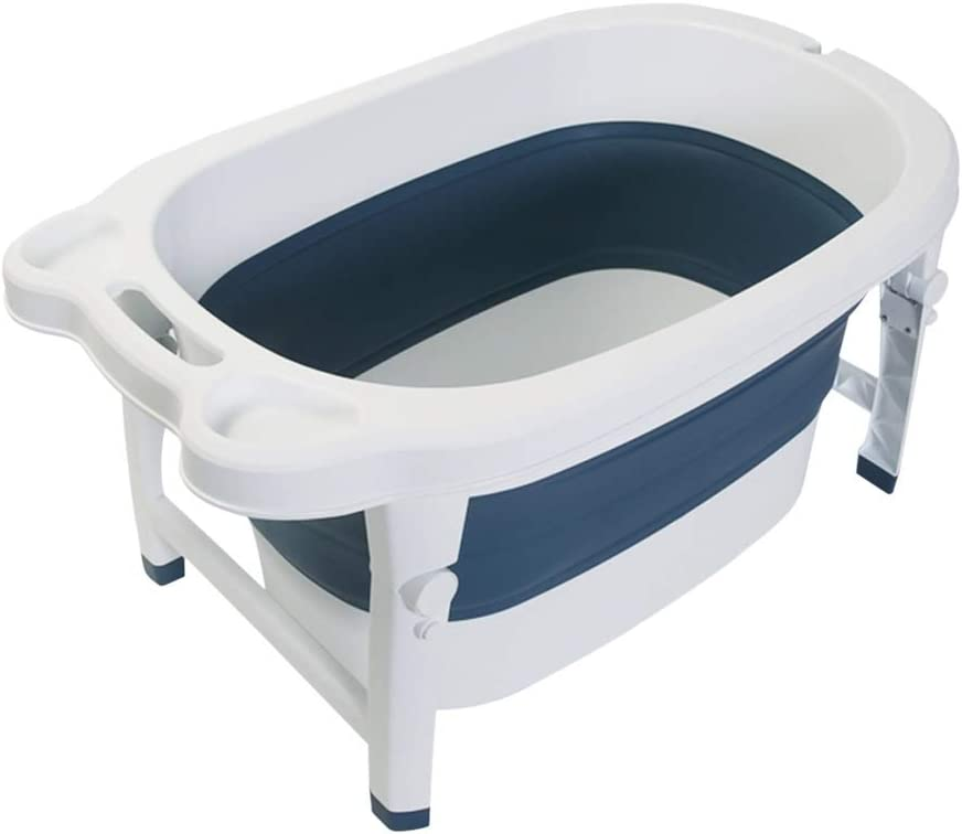 バスタブ シンプルな子供用バスバレル 折りたたみ式ベビープール用浴槽 ホームベビーバス 折りたたみ式収納 広いスペース 83X50X43cm GUOGUO (Color : Blue)