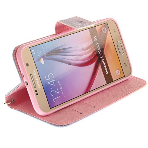 Funda Galaxy S6,SainCat Funda de cuero sintético tipo billetera con correa de cordón de Suave PU Carcasa Con Tapa y Cartera,Ranuras para Tarjetas y Billetera Funda de Flip Ranuras Tarjeta Slots Funció Color Campanula