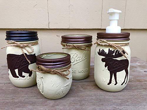 Rustic Mason Jar Bathroom Set/Adirondack Bathroom Set/Rustic Bathroom Decor/Bear Bath Set/Moose Bath Set