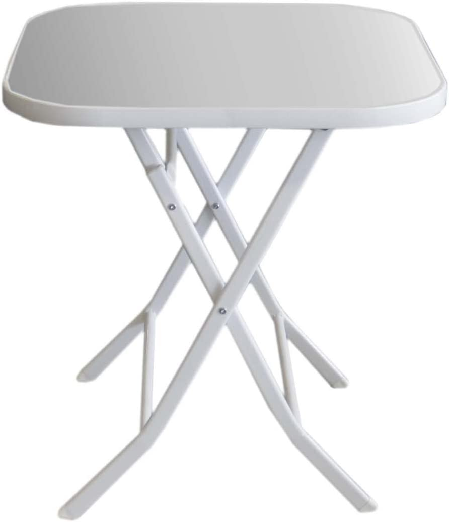 Side Table 10 x 10 cm Glass/Metal White Garden Table Party Camping