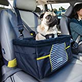 Kurgo Nantucket Dog Booster Seat for Cars, Dog Car Seat, Pet Booster Seat – Comes with Seat Belt Tether, Navy Blue