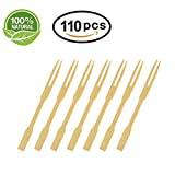 Bamboo Forks Fruit Fork Skewer - 110Pcs 3.5 Inch Mini Prong Forks For Party Buffet, Catering, Cocktail Picks, Fruit Picks