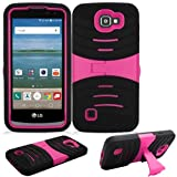 verizon lg cell phone case - Phone Case for Straight Talk LG Rebel 4g LTE (Tracfone) / LG Optimus Zone 3 4G LTE / LG K4 4g LTE (Verizon Wireless)/ LG Spree ( Cricket Wireless ) Rugged Heavy Duty Armo Cover Pink Stand