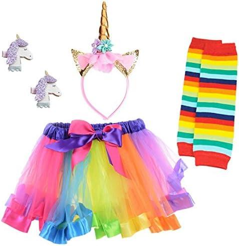 1 Set diadema brillante unicornio cuerno con 1 pcs Rainbow falda ...