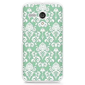 Hard Plastic Case for Moto G, CasesByLorraine Damask Mint Green Elegant Vintage PC Case Plastic Cover for Motorola Moto G (P07)