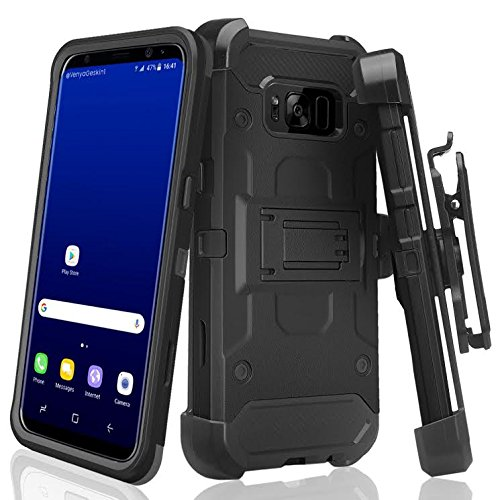 GALAXY WIRELESS for Samsung Galaxy S8 Case with Clip,Galaxy S8 Phone Case Protective Case Cover for Galaxy S8 Holster w/Full Screen Temper Glass [Kickstand][Belt Swivel Clip] for Galaxy S8 - Black (Case Holster Black Swivel)