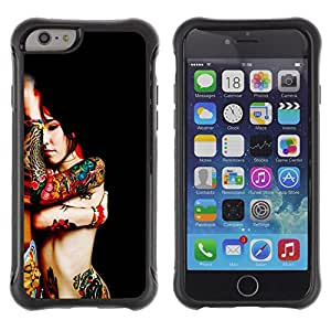 All-Round híbrido Heavy Duty de goma duro caso cubierta protectora Accesorio Generación-II BY RAYDREAMMM - Apple iPhone 6 - Body Art Tattoo Woman Red Asian Colorful Nude