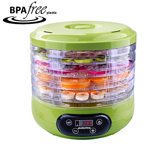 AUKUYEE Food Dehydrator Machine Professional Electric Multi-Tier Fruit Vegetable Dryer Meat Jerky Snack Maker Food Preserver 5 Stackable Trays, Fruit Roll Sheet, Fine-mesh Sheet (Green)