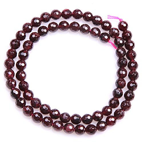 "6mm Garnet Beads for Jewelry Making Natural Semi Precious Gemstone Round Faceted Strand 15"" JOE FOREMAN"