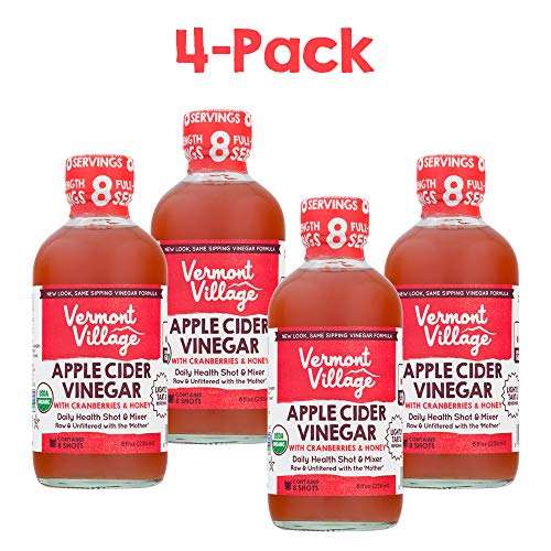 Vermont Village Organic Apple Cider Sipping Vinegar (Cranberries & Honey), Pack of 4