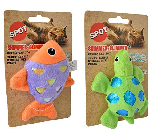 Ethical Pet Shimmer-Glimmer Catnip Cat Toy Bundle: Fish and Turtle, Assorted Colors
