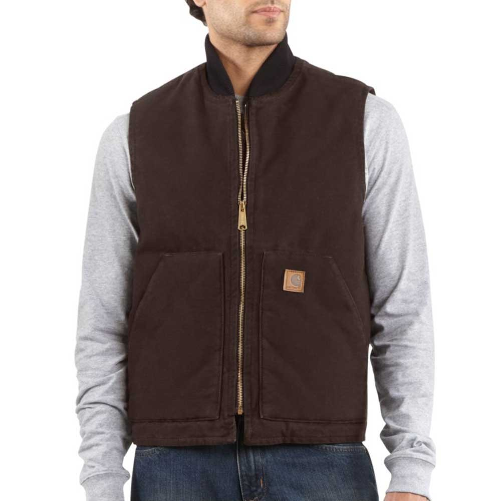 Carhartt Men's V02 Sandstone Arctic Vest - Arctic Quilt Lined - 4X-Large Regular - Dark Brown by Carhartt
