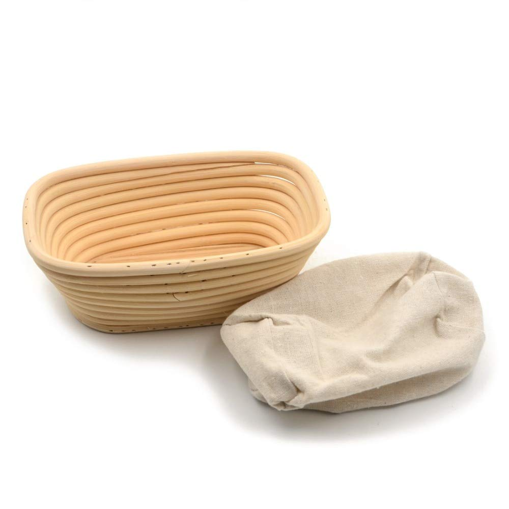 HOT- Baking & Pastry Tools - 1pc Rectangle 20x14x7cm Banneton Bortform Rattan Basket Bread Dough Proofing Handmade Multi Storage - by Tini - 1 PCs