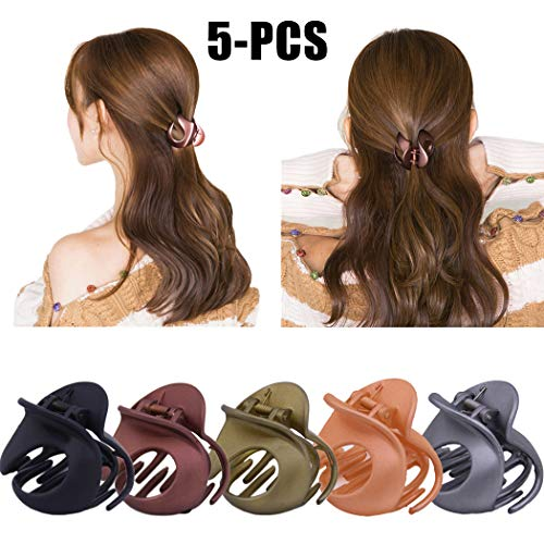Jaw Clips, Fascigirl 5Pcs Hair Clamps Vintage Simple Irregular Non Slip Hair Accessories Claw Clips for Women Cooking Working Use (Butterfly Gold Butter)