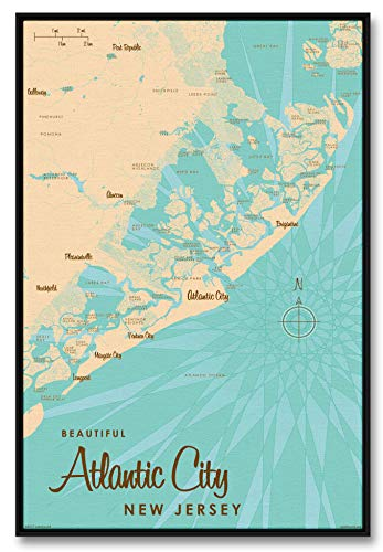 Atlantic City New Jersey Vintage-Style Map Professionally Framed Giclee Archival Canvas Wall Art for Home & Office by Lakebound (24