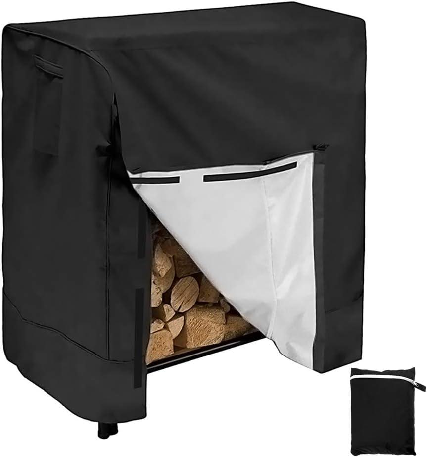 Windproof Dry Wood Pile Holder Storage Tarp Cover Heavy Duty UV Resistant Sun Snow Rain Durable PVC Backing Protector fit 4 Seasons Black Firewood Log Rack Cover Outdoor Waterproof Log Hoop Cover