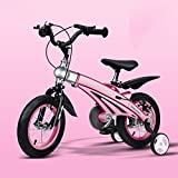 QXMEI Children's Bicycle Magnesium Alloy Frame 12/14/16 Inch Boy Girl 2-4-4-5-6-9 Years Old Children's Bicycle With Training Wheels,Pink-16Inches
