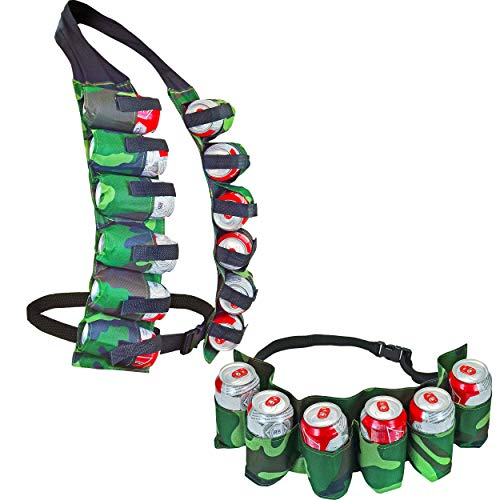 6 Pack Beer & Soda Can Holster Belt & 12 Pack Beer & Soda Can Holster Vest, -