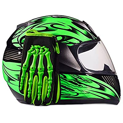 Youth Kids Full Face with Shield Helmet & Gloves Combo Motorcycle Street Dirtbike MX - Green ( Medium )