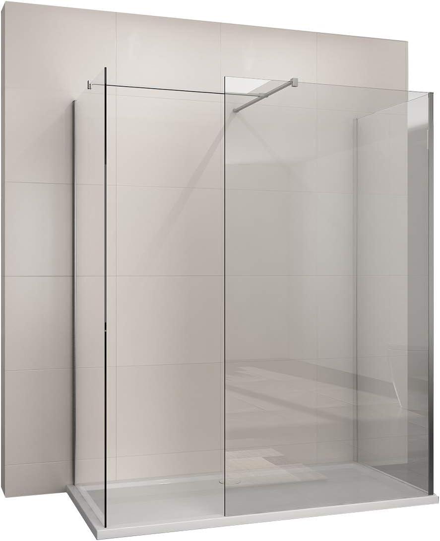 Cabina de ducha Walk In ducha abierta 8 mm NANO-GLAS: Amazon.es ...