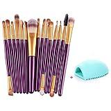 Toraway 15 pcs/Sets Eye Shadow Foundation Eyebrow Lip Brush Makeup Brushes Tool (Purple)