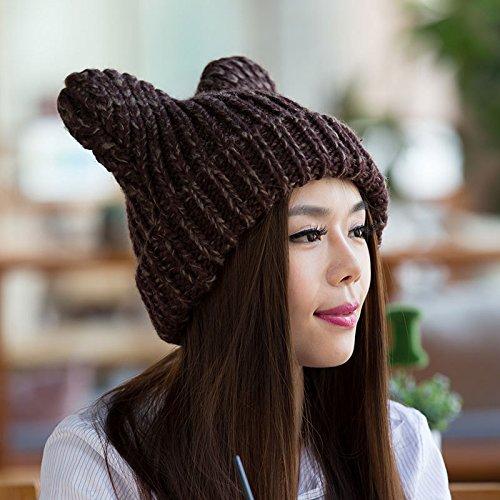 Sombreros Invierno Hechos de de Hip Coreano 4 3 a Mano señoras Gorros del Maozi Grueso Lindo Auge Lana Punto Hop del fdFBgfwqpx