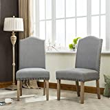 Fabric Chairs Roundhill Furniture Mod Urban Style Solid Wood Nailhead Grey Fabric Padded Parson Chair (Set of 2), Gray