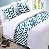 YIH Bed Runner Blue Wave With Cushion Cover, Bed Scarf Protector Slipcover Pad For Pets, 70 Inches By 19 Inches