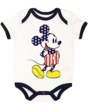 Mickey Mouse Baby Boys USA Stars and Stripes Creeper Bodysuit