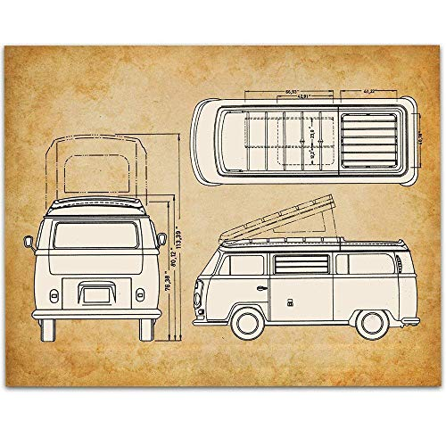 Volkswagen Type 2 Bus Patent - 11x14 Unframed Patent - Great Gift Under $15 for VW Fans