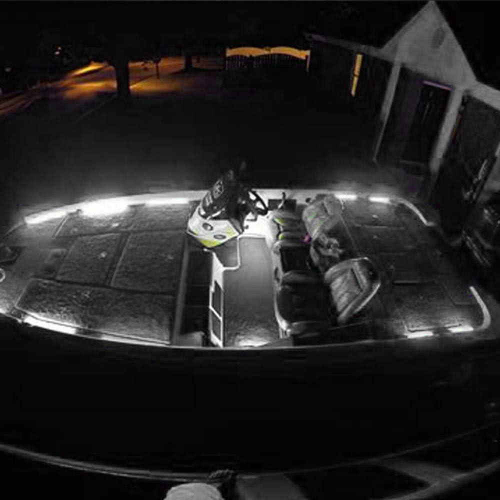Topwor 2 Pezzi Luci di Navigazione A LED Prua per Barche Luci di Cortesia A LED 9 LED Ip67 Impermeabile 8000k per Barche Gommone di Pontone Kayak Imbarcazione A Vela Catamarano Bianco