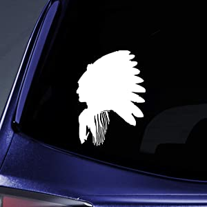 """Bargain Max Decals Indian Chief Sticker Decal Notebook Car Laptop 5.5"""" (White)"""
