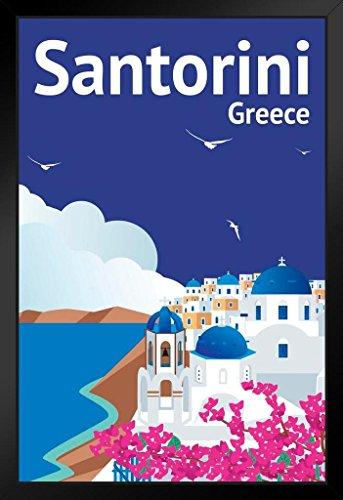 Santorini Greece Retro Travel Art Framed Poster 14x20 - Art Oia Greece Santorini Framed