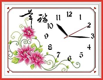 astitch Kits de punto de cruz, diseño felicidad cara del reloj (color rosa): Amazon.es: Juguetes y juegos