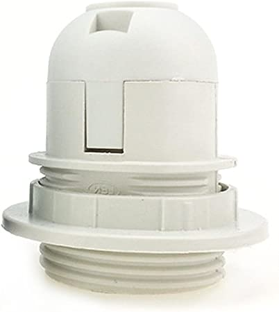 Arditi Douille en thermoplastique partiellement filet/ée avec culot E14 et bague Blanc