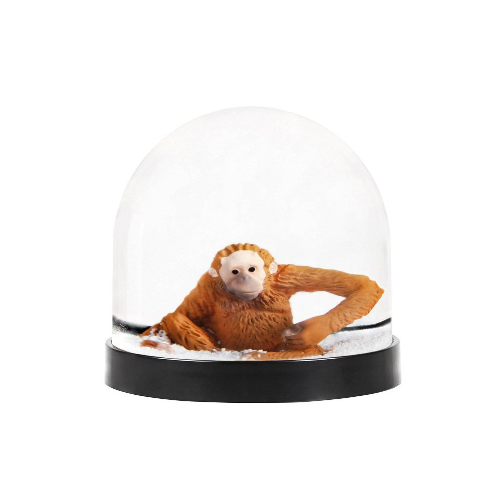 &Klevering Funny snow globe of high quality, with monkey, 8 x Ø 8.5 cm