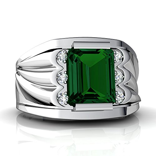 14kt White Gold Lab Emerald and Diamond 9x7mm Emerald_Cut Men's Ring - Size 9.5 ()