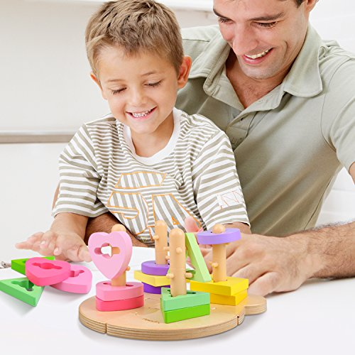 Peradix Wooden Puzzle Toddler Educational Toys Shapes Sorter Sorting Stacking Baby Toys Preschool Geometric Blocks Stacking Games Kids by Peradix (Image #5)