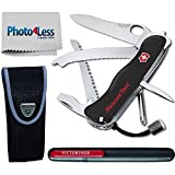 Victorinox Swiss Army Rescue Tool Pocket Knife with Pouch + Pocket Knife Sharpener + Cleaning Cloth - Top Value Bundle! (Black)