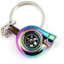 Maycom® Spinning Turbo Keychain Keyring Turbocharger Turbine Key Chain Ring Keyrings (Neo Rainbow)