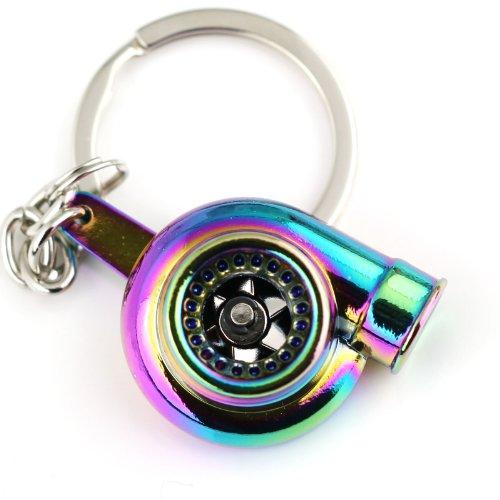 Maycom Creative Sleeve Spinning Turbo Turbine Turbocharger Keychain Key Chain Ring Keyring Keyfob (Neo Rainbow)