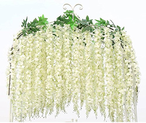 Artificial Wisteria Vine Garland Flower White Fake Hanging Plant Wholesale 6 pcs Silk String Ratta Home Arch Wedding Party Decor
