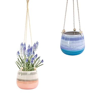 Ceramic Hanging Planter, Pink White Succulent Pots, Round Plant Holder Container, Cactus Pot with Cotton Rope Hanger, Indoor Outdoor Decor, 23 Bees (1 Pack x Pink Horizon): Garden & Outdoor