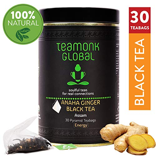 Assam Ginger Black Tea, 30 Teabags | Supports Energy Boost | 100% Natural Ginger with Whole Leaf Black Tea | No Additives