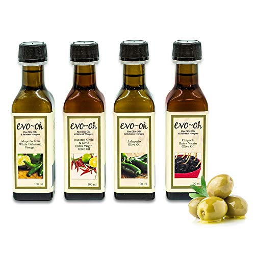 Gourmet Olive Oil Gift Set and Balsamic Vinegar   Jalapeno Flavor 4-Pack 100ml Each Bottle   100% Natural Flavors   Jalapeno, Roasted Chile and Lime, Chipotle, and Jalapeno Lime White Balsamic