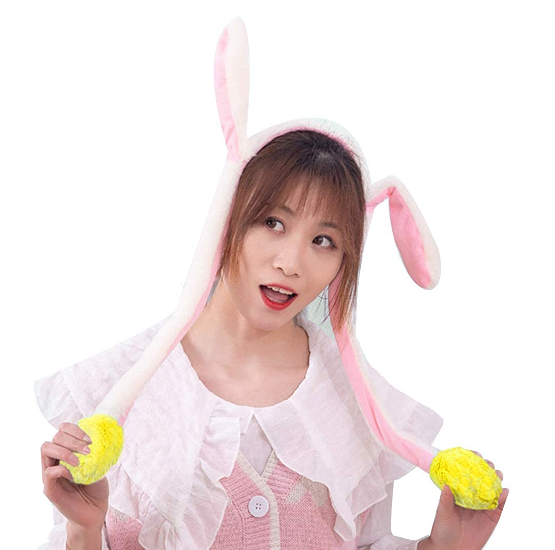 Hot Sell Fashion Moving Hat Rabbit Ears Plush Sweet Cute Airbag Cap 2 Color Can Be Choose Girl's Accessories Girl's Hats
