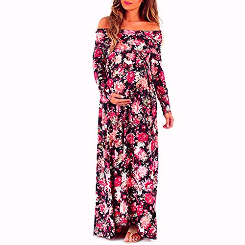 Sunbona Maternity Chiffon Maxi Floral Printed Off Shoulder Long Sleeve Dresses Women's Pregnant Photography Sexy Dress For Photo Shoot (Asian Size:M, Red)