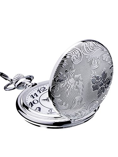 Mudder Silver Quartz Pocket Watch Stainless Steel Pocket Watch with Chain (Watch Stainless Pocket Silver Steel)